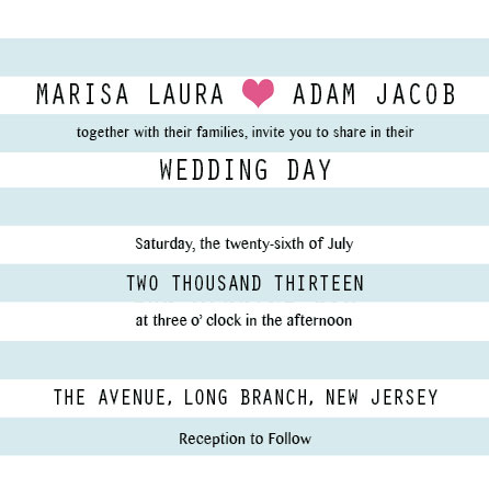 wedding invitations - Hearts and Stripes by Marlie Renee