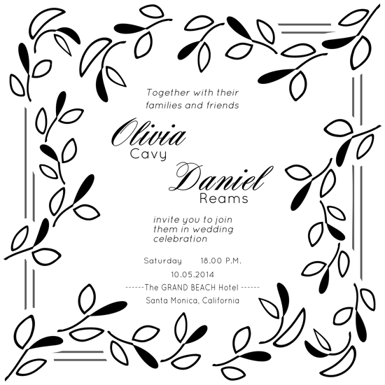 wedding invitations - Botanical Black White by Gina Lesica-Dujmovic