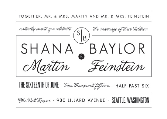 wedding invitations - Simple Blocked Typography by Lindsey Chin-Jones