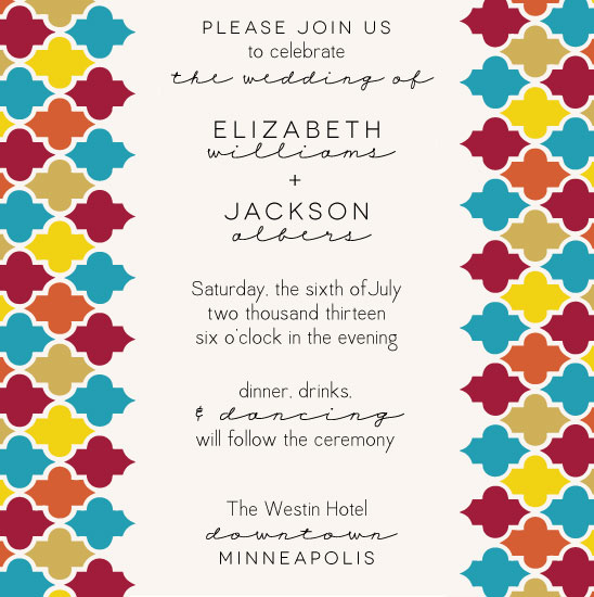 wedding invitations - Bright Tile by Monica Francis