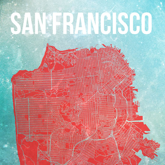Art prints map of san francisco at for Design companies in san francisco