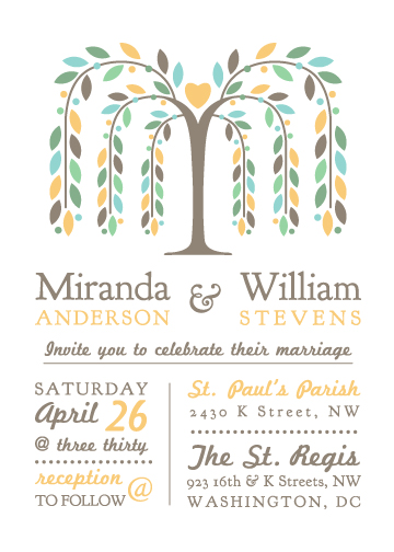 wedding invitations - Willow Tree with Heart by Jodi VanMetre