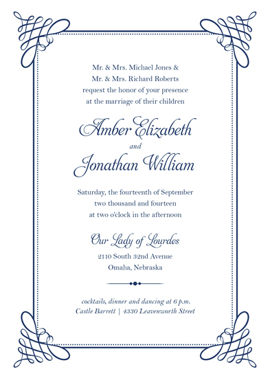 wedding invitations - Elegance dressed in Navy by Amy Johnson