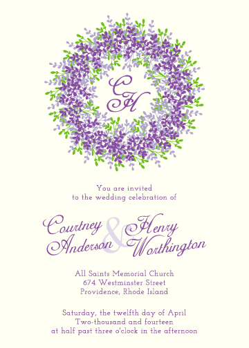 wedding invitations - Lavender Wreath by Jodi VanMetre