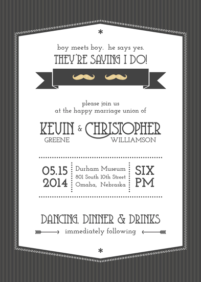 wedding invitations - Boy Meets Boy by Amy Johnson