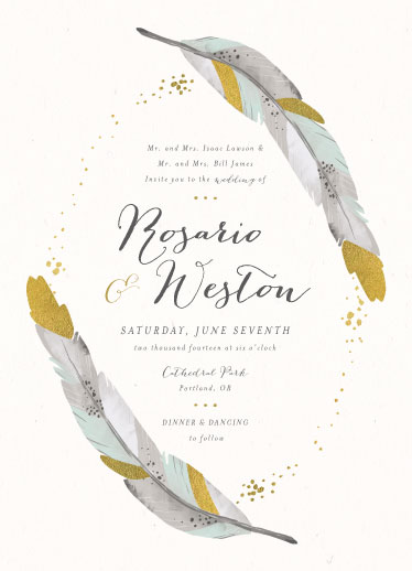 wedding invitations - Dipped Feathers by Pistols