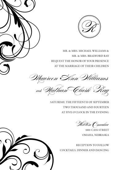wedding invitations - Classic Black Swirl by Amy Johnson