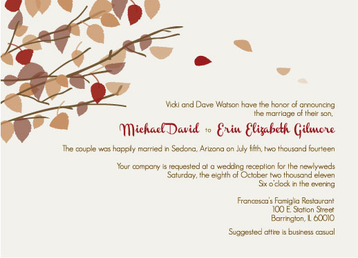 wedding invitations - Fall Leaves me Happy by Maureen Masters