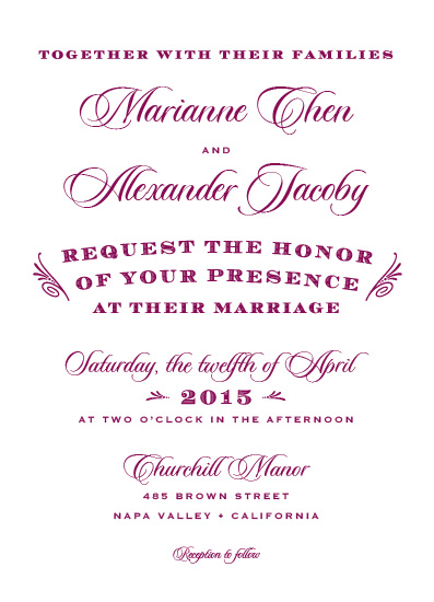 wedding invitations - Vintage Bordeaux by Karen Leung