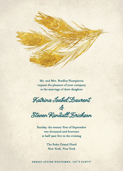 wedding invitations - Golden Feather by Bronze Ghost