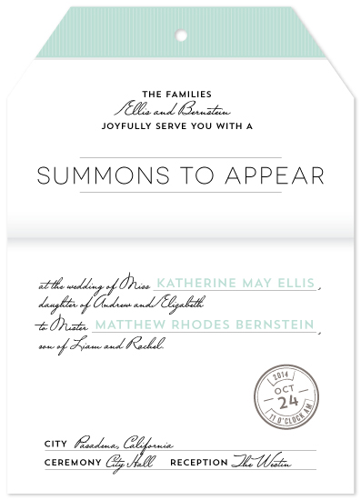 Wedding Invitations Summons To Appear At Minted Com