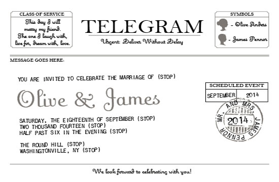 wedding invitations - Telegram by Willow and Twig