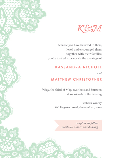 wedding invitations - Mint Lace by Amy Johnson