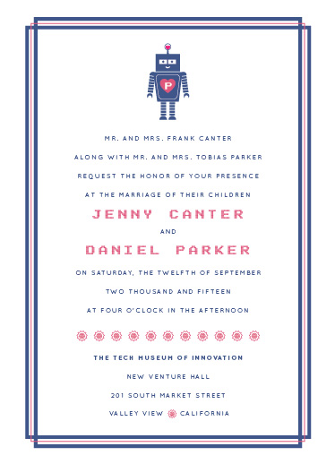 wedding invitations - Robots Find Love by Karen Leung
