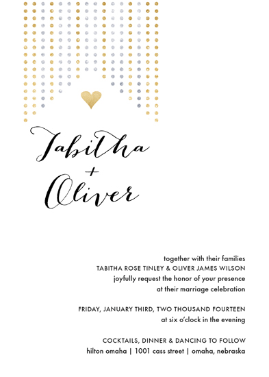 wedding invitations - heart of gold and silver by Amy Johnson