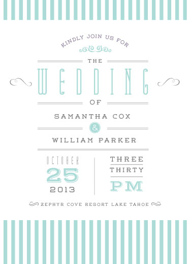 wedding invitations - Swanky Stripes by Sally-Ann Langley