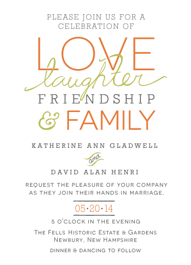 wedding invitations - Love, Laughter, Friendship, Family by Jane W