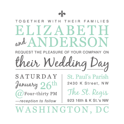 wedding invitations - Fluer-de-lis Square by Jodi VanMetre