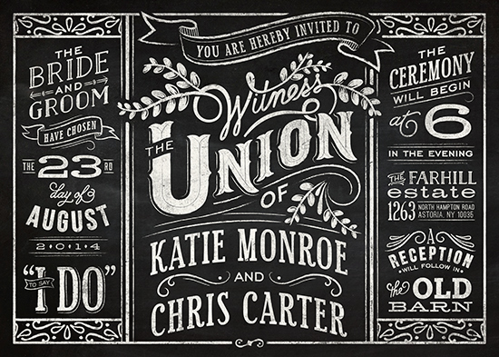 wedding invitations - Slated Forever by GeekInk Design