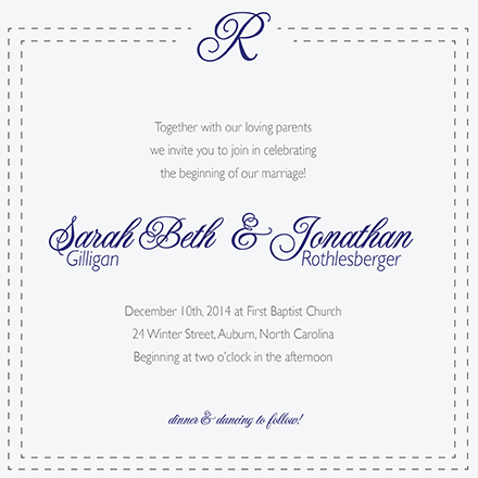 wedding invitations - Simply Stitched by Stephanie Krist