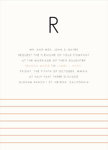 wedding invitations - Lined Monogram by INKandIRON