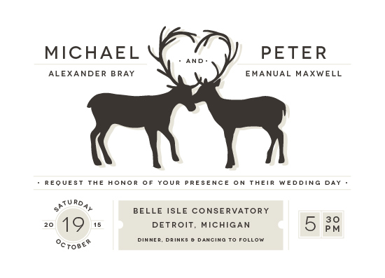 wedding invitations antler fancy by snow and ivy - Deer Wedding Invitations