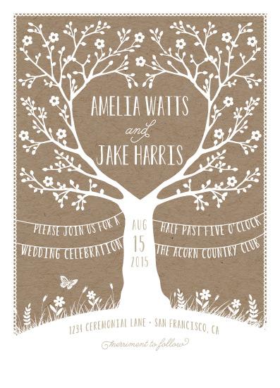 wedding invitations - Kraft Woodland Tree by Coco and Ellie Design