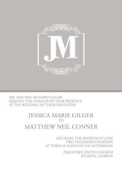 wedding invitations - StripedMonogram by Paper Parfait