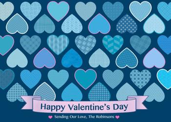 Blue Pattern Hearts