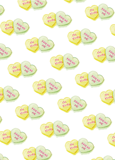 valentine's day - I'm Yours Green Yellow Hearts by Becky Nimoy