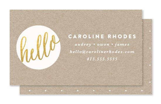 business cards - Hello New Friend by Bourne Paper Co.