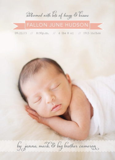 birth announcements - Hugs & Kisses by Sky Marie Studio