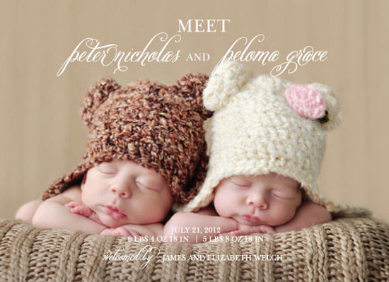 birth announcements - Sweet Twins Announcement by Finch Paperie