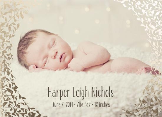 birth announcements - Gold Leaf by Stephanie Budd Design