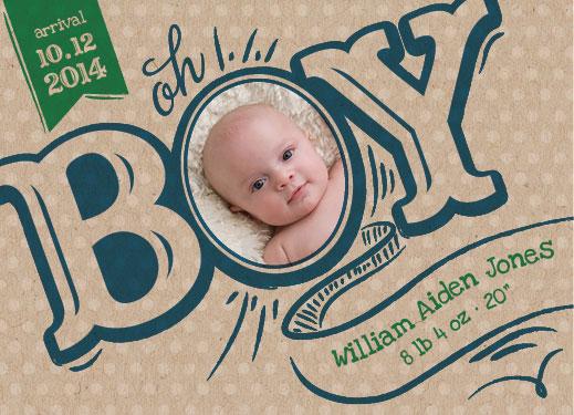 birth announcements - oh BOY by Tami Warrington