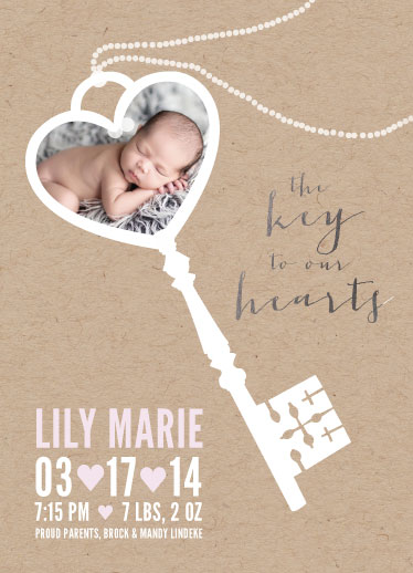 birth announcements - the key to our hearts by Mandy Lindeke