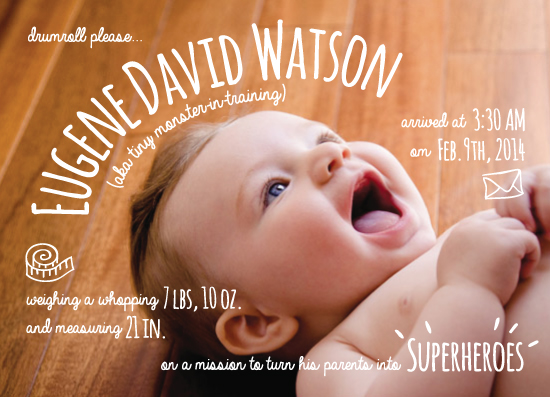 birth announcements - New Tiny Monster Born to Superhero Parents by Kate Zane
