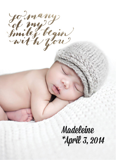 birth announcements - So many of my smiles start with you by Natascha Safarik
