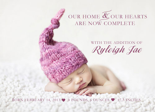 birth announcements - Home & Hearts Are Now Complete by Barbara Caruso
