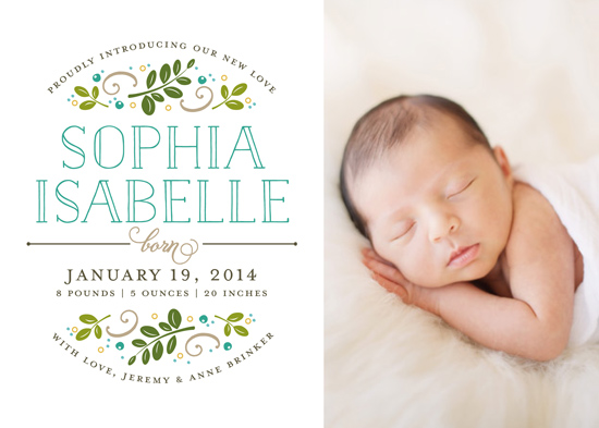 birth announcements - Botanical Crest by Jessica Williams