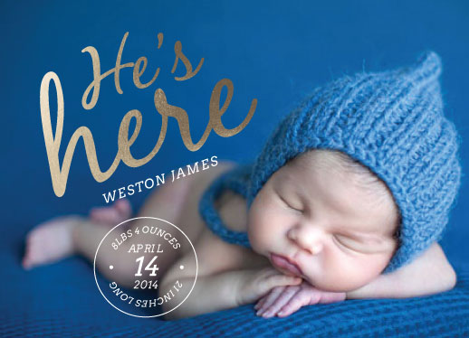 birth announcements - He's here by Heather Eikel
