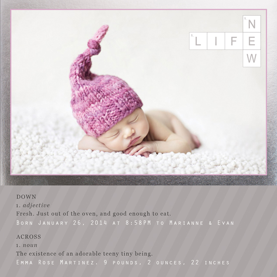 birth announcements - New Life Crossword Puzzle by Elena Ferdinand