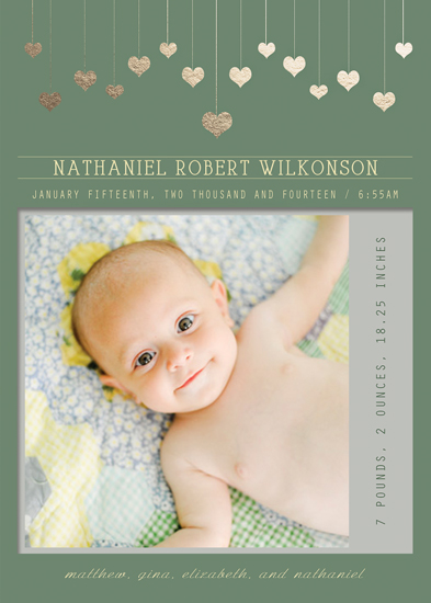 birth announcements - Hanging Hearts by Elena Ferdinand