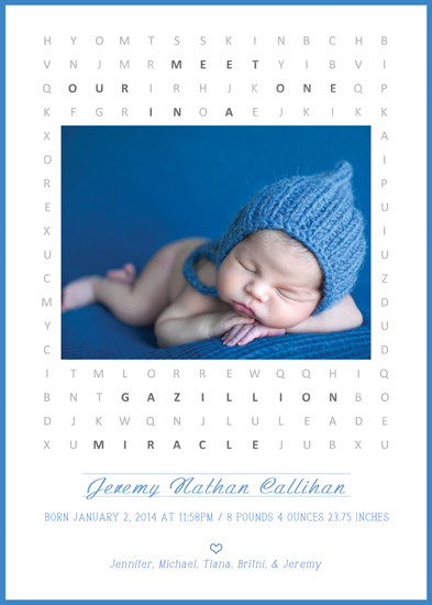 birth announcements - One in a gazillion word search by Elena Ferdinand