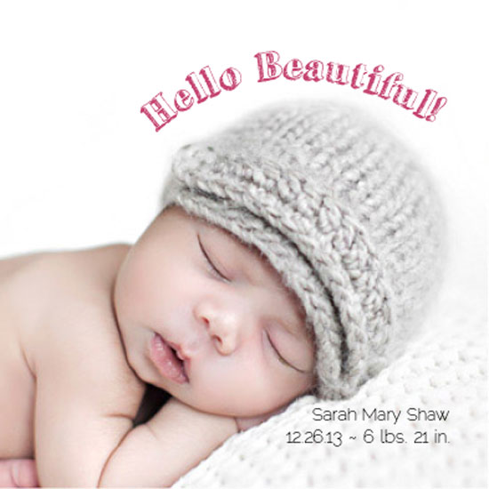birth announcements - Hello Beautiful - chalk letters by Courtney