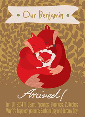 birth announcements - fox family by Barbara Treszner