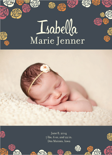 birth announcements - Summer Florals by Andrea Castek