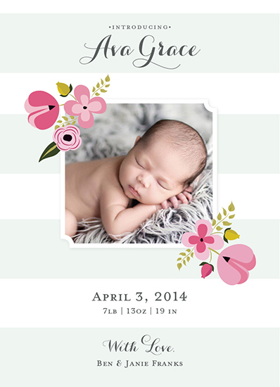 birth announcements - Mint Flower by Amanda Weaver