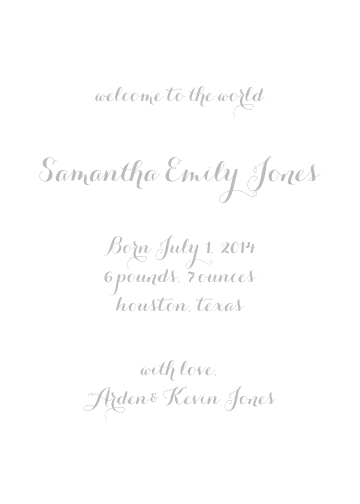 birth announcements - Simple Script by Lily Lasuzzo