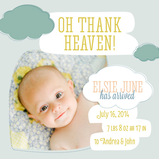 birth announcements - Oh Thank Heaven by Marleigh Miller